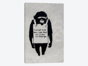 Monkey in a sandwich board